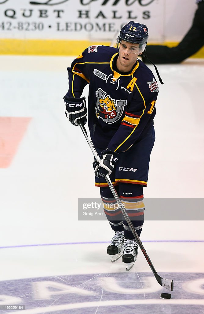 Justin Scott #17 of the Barrie Colts takes warmup prior to a game against the Mississauga Steelheads on November 1, 2015 at the Hershey Centre in Mississauga, Ontario, Canada.