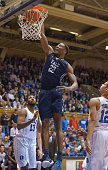 Justin Sears of the Yale Bulldogs dunks against the Duke Blue Devils during their game at Cameron Indoor Stadium on November 25 2015 in Durham North...