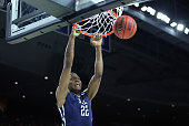Justin Sears of the Yale Bulldogs dunks the ball in the first half against the Baylor Bears during the first round of the 2016 NCAA Men's Basketball...