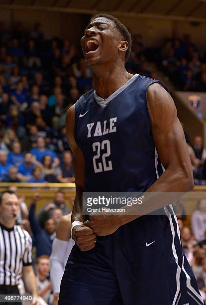 Justin Sears of the Yale Bulldogs reacts after dunking against the Duke Blue Devils during their game at Cameron Indoor Stadium on November 25 2015...