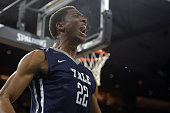 Justin Sears of the Yale Bulldogs reacts following a play against the Baylor Bears during the first round of the 2016 NCAA Men's Basketball...