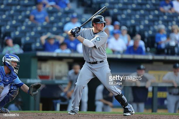 Justin Smoak of the Seattle Mariners bats against the Kansas City Royals at Kauffman Stadium on September 5 2013 in Kansas City Missouri