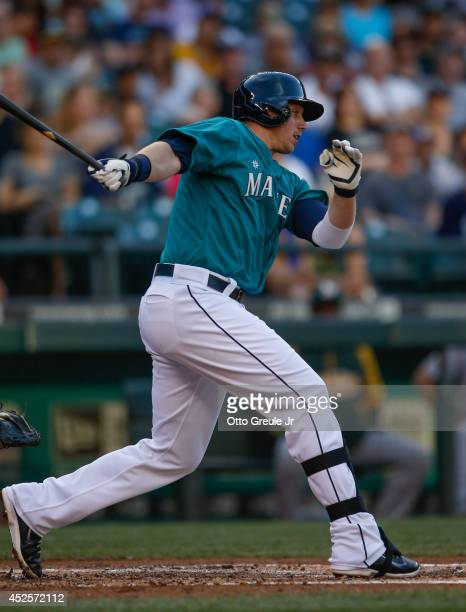 Justin Smoak of the Seattle Mariners bats against the Oakland Athletics at Safeco Field on July 11 2014 in Seattle Washington