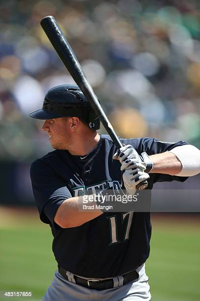 Justin Smoak of the Seattle Mariners bats against the Oakland Athletics during the game at Oco Coliseum on Sunday April 6 2014 in Oakland California