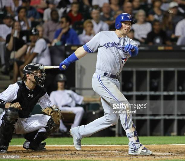 Justin Smoak of the Toronto Blue Jays bats against the Chicago White Sox at Guaranteed Rate Field on July 31 2017 in Chicago Illinois The White Sox...