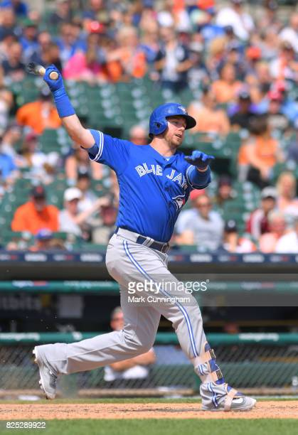 Justin Smoak of the Toronto Blue Jays bats during the game against the Detroit Tigers at Comerica Park on July 16 2017 in Detroit Michigan The Tigers...