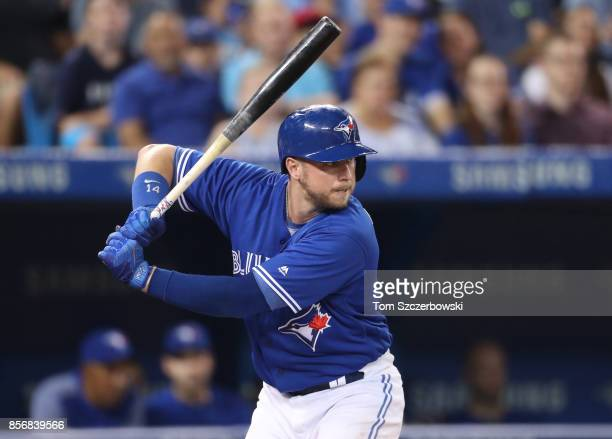 Justin Smoak of the Toronto Blue Jays bats in the fourth inning during MLB game action against the Kansas City Royals at Rogers Centre on September...