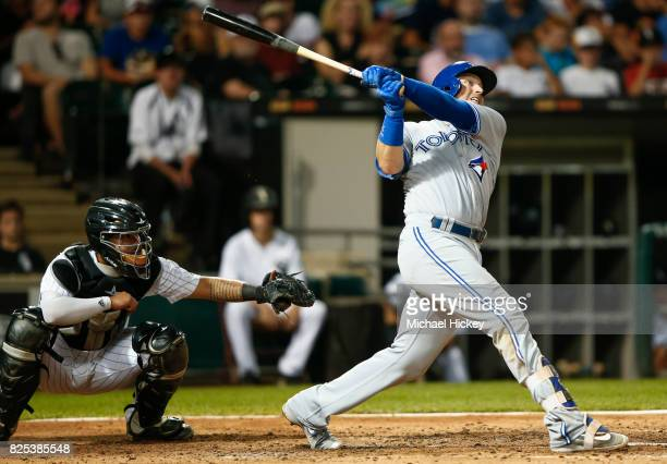 Justin Smoak of the Toronto Blue Jays hits a two run homer in the fifth inning against the Chicago White Sox at Guaranteed Rate Field on August 1...