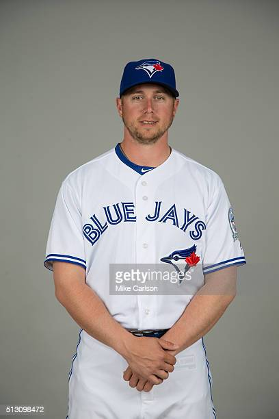 Justin Smoak of the Toronto Blue Jays poses during Photo Day on Saturday February 27 2016 at Florida Auto Exchange Stadium in Dunedin Florida