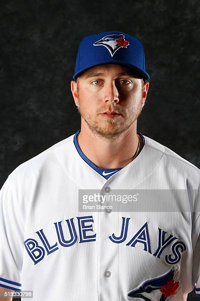Justin Smoak of the Toronto Blue Jays poses for a photo during the Blue Jays' photo day on February 27 2016 in Dunedin Florida
