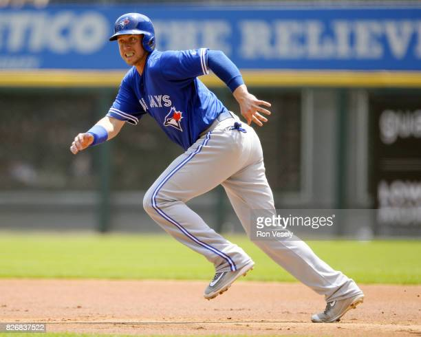 Justin Smoak of the Toronto Blue Jays runs the bases against the Chicago White Sox on August 2 2017 at Guaranteed Rate Field in Chicago Illinois