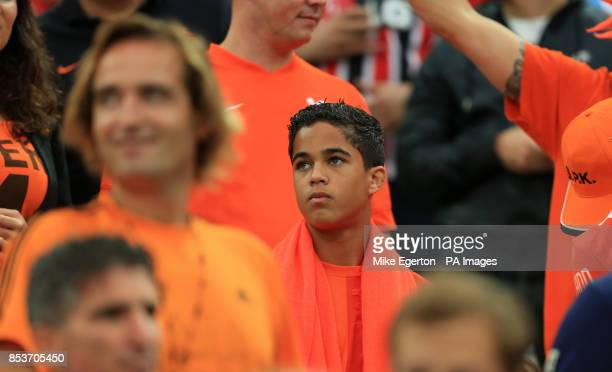 Justin son of Netherlands assistant coach Patrick Kluivert in the stands