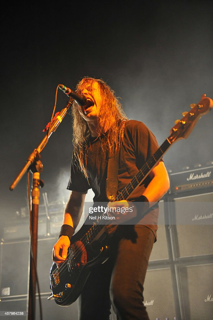 Justin Street of Airbourne on October 27, 2014 in Sheffield, England.