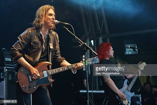 Justin Sullivan of New Model Army performs on stage on Day 1 of Bearded Theory Festival on May 17 2013 in Derby England