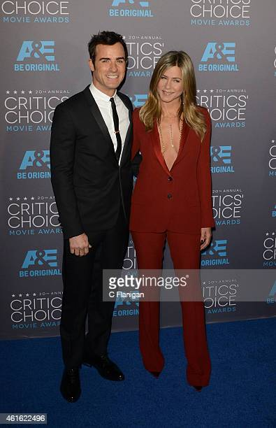 Justin Theroux and Jennifer Aniston arrive to The 20th Annual Critics' Choice Movie Awards at Hollywood Palladium on January 15 2015 in Los Angeles...