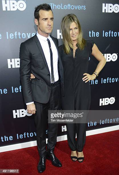 Justin Theroux and Jennifer Aniston attend HBO's 'The Leftovers' Season 2 Premiere at the Paramount Theatre on October 3 2015 in Austin Texas