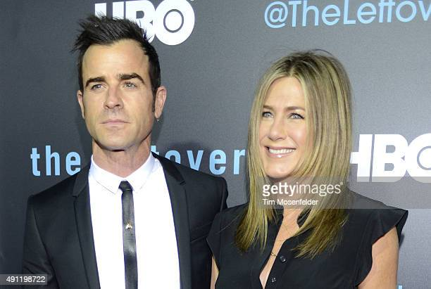 Justin Theroux and Jennifer Aniston attend HBO's 'The Leftovers' Season 2 Premiere during The ATX Television Festival at the Paramount Theatre on...