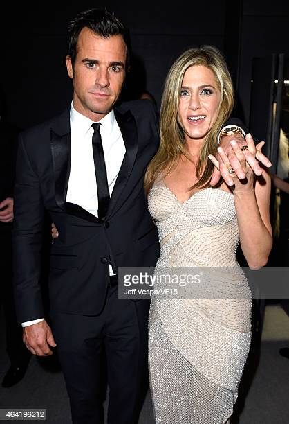 Justin Theroux and Jennifer Aniston attend the 2015 Vanity Fair Oscar Party hosted by Graydon Carter at the Wallis Annenberg Center for the...
