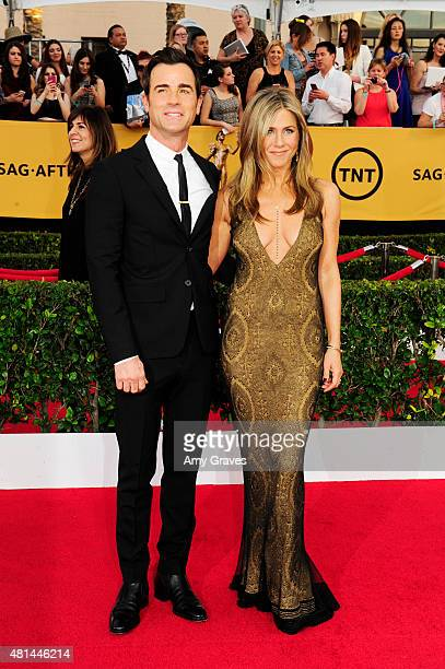 Justin Theroux and Jennifer Aniston attend the 21st Annual Screen Actors Guild Awards at the Shrine Auditorium on January 25 2015 in Los Angeles...