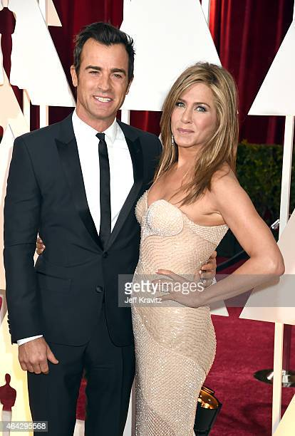 Justin Theroux and Jennifer Aniston attend the 87th Annual Academy Awards at Hollywood Highland Center on February 22 2015 in Hollywood California