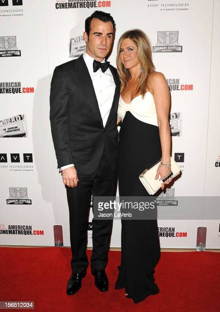 Justin Theroux and Jennifer Aniston attend the American Cinematheque 26th annual award presentation at The Beverly Hilton Hotel on November 15 2012...