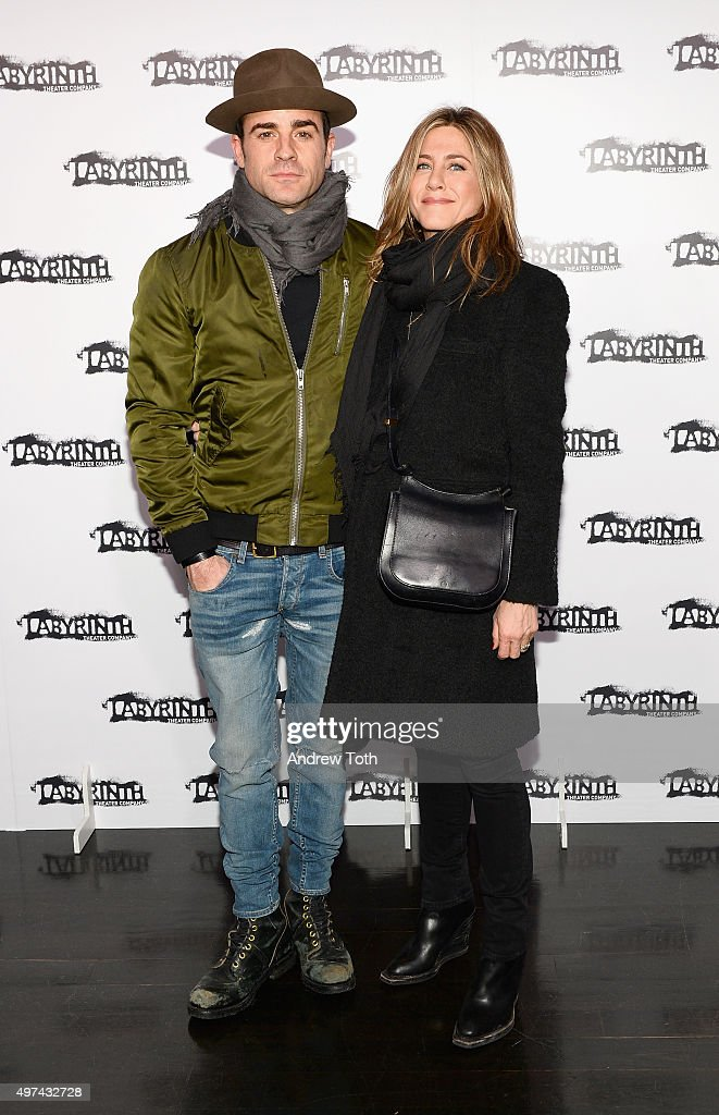 Justin Theroux and Jennifer Aniston attend the Labyrinth Theater Company's Celebrity Charades Gala 2015 on November 16 2015 in New York City