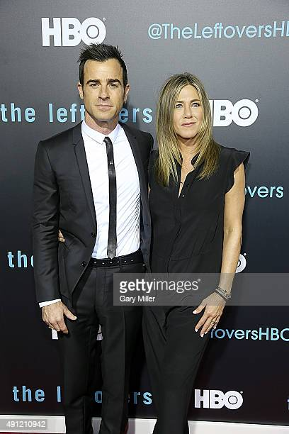 Justin Theroux and Jennifer Aniston attend the Season 2 premeire of HBO's 'The Leftovers' during the ATX Television festival at the Paramount Theatre...