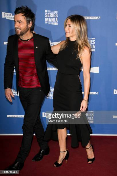 Justin Theroux and Jennifer Aniston attend the 'Series Mania Festival' opening night at Le Grand Rex on April 13 2017 in Paris France