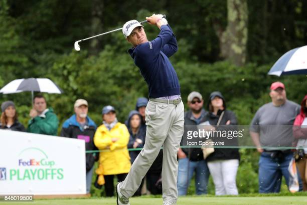 Justin Thomas of the United States hits from the 8th tee during the third round of the Dell Technologies Championship on September 3 at TPC Boston in...
