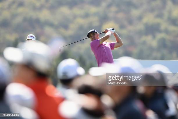 Justin Thomas of the United States on the 16th hole during the final round of the CJ Cup at Nine Bridges on October 22 2017 in Jeju South Korea
