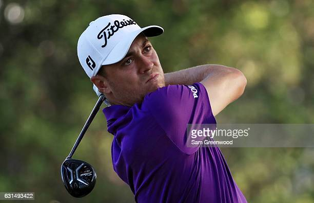 Justin Thomas of the United States plays a shot during the ProAm Tounament prior to the Sony Open In Hawaii at Waialae Country Club on January 11...