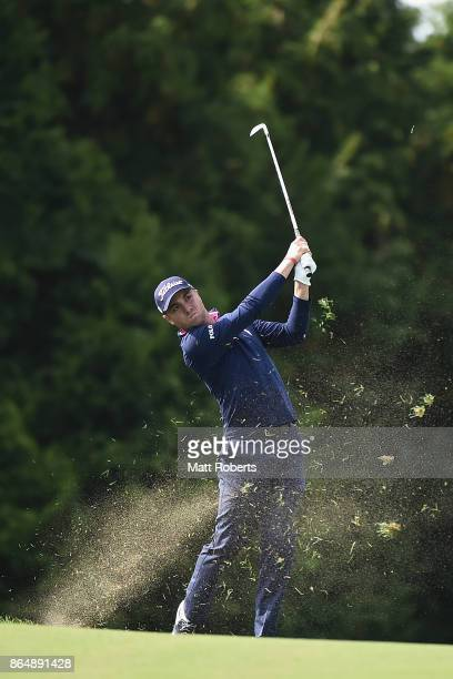 Justin Thomas of the United States plays his appraoch shot on the 15th hole during the final round of the CJ Cup at Nine Bridges on October 22 2017...