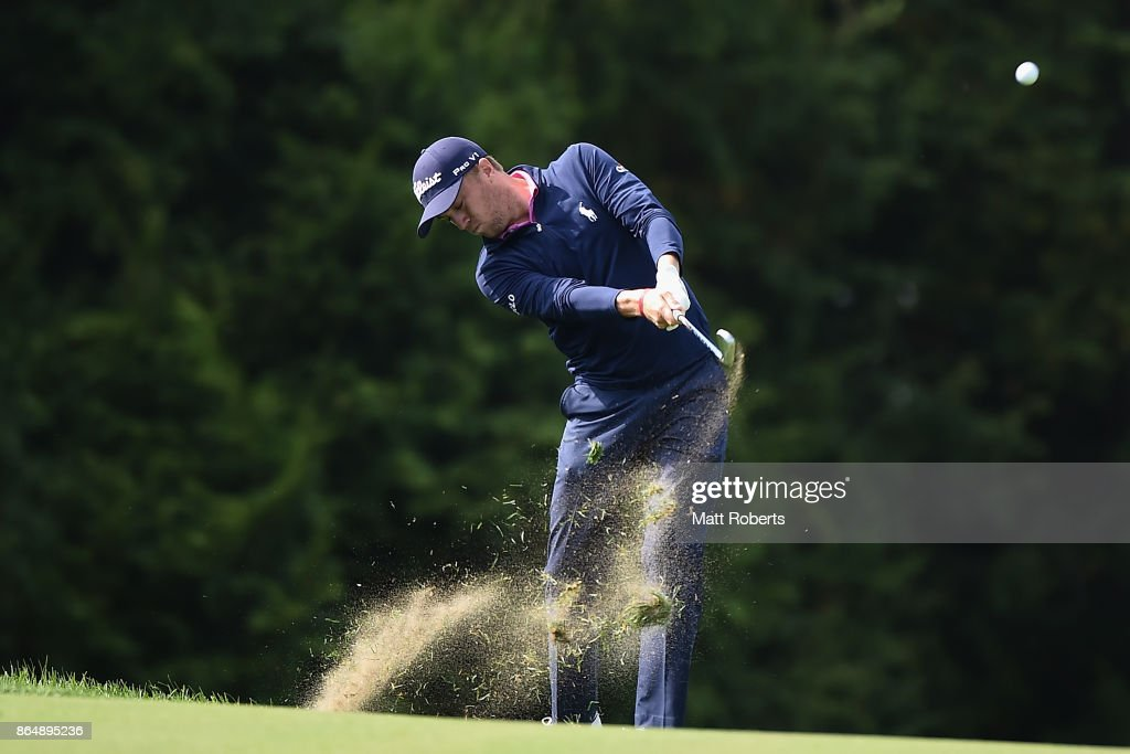 Justin Thomas of the United States plays his appraoch shot on the 15th hole during the final round of the CJ Cup at Nine Bridges on October 22, 2017 in Jeju, South Korea.