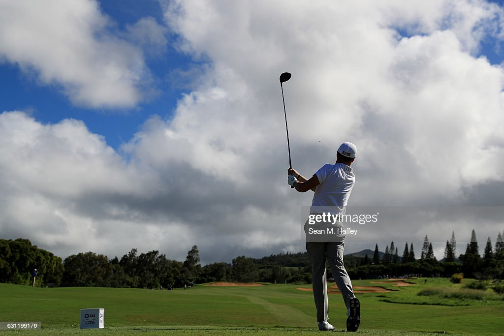 Justin Thomas of the United States plays his shot from the 14th tee during the third round of the SBS Tournament of Champions at the Plantation Course at Kapalua Golf Club on January 7, 2017 in Lahaina, Hawaii.