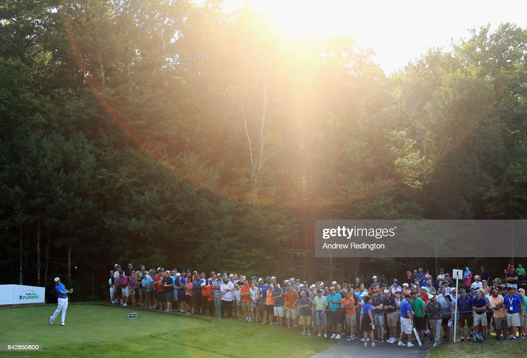 Justin Thomas of the United States plays his shot from the 15th tee during the final round of the Dell Technologies Championship at TPC Boston on September 4, 2017 in Norton, Massachusetts.