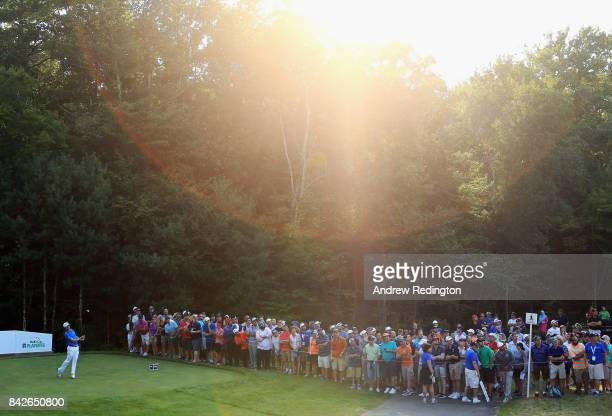 Justin Thomas of the United States plays his shot from the 15th tee during the final round of the Dell Technologies Championship at TPC Boston on...