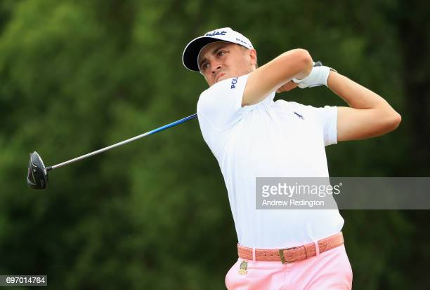 Justin Thomas of the United States plays his shot from the 17th tee during the third round of the 2017 US Open at Erin Hills on June 17 2017 in...