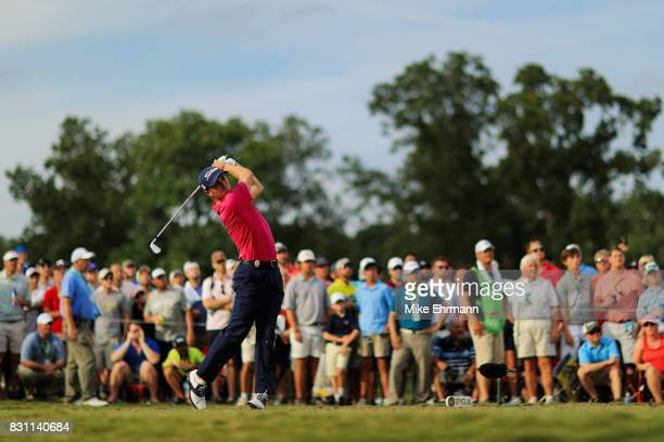 Justin Thomas of the United States plays his shot from the 17th tee during the final round of the 2017 PGA Championship at Quail Hollow Club on...