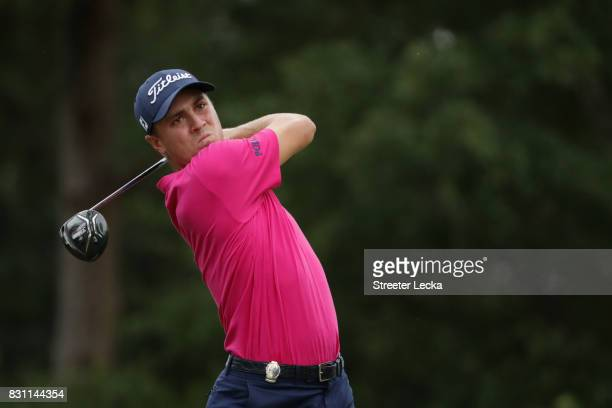 Justin Thomas of the United States plays his shot from the 18th tee during the final round of the 2017 PGA Championship at Quail Hollow Club on...