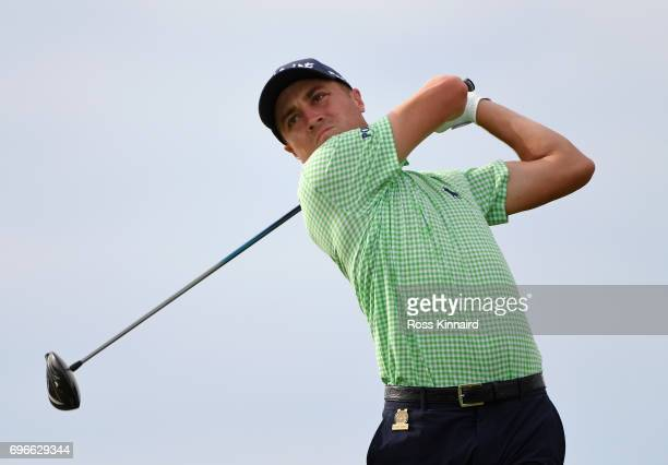 Justin Thomas of the United States plays his shot from the tenth tee during the second round of the 2017 US Open at Erin Hills on June 16 2017 in...