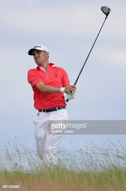 Justin Thomas of the United States plays his shot from the tenth tee during the final round of the 2017 US Open at Erin Hills on June 18 2017 in...