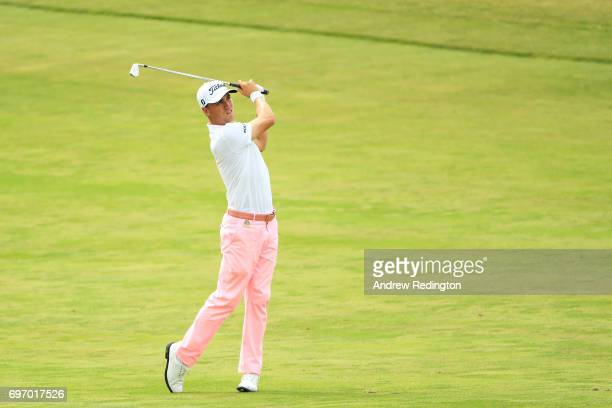 Justin Thomas of the United States plays his shot on the 17th hole during the third round of the 2017 US Open at Erin Hills on June 17 2017 in...
