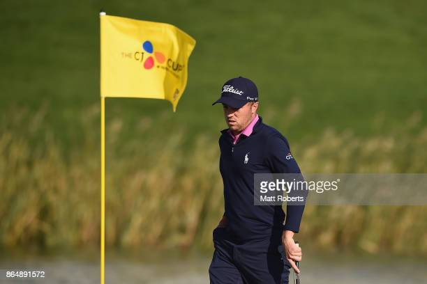 Justin Thomas of the United States prepares to putt on the 18th green during the final round of the CJ Cup at Nine Bridges on October 22 2017 in Jeju...