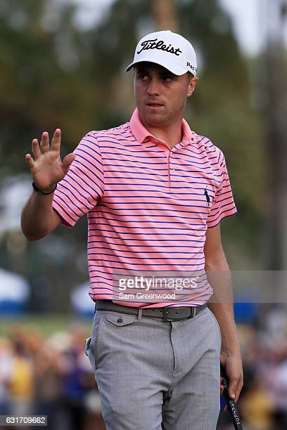 Justin Thomas of the United States reacts on the 18th green during the third round of the Sony Open In Hawaii at Waialae Country Club on January 14...