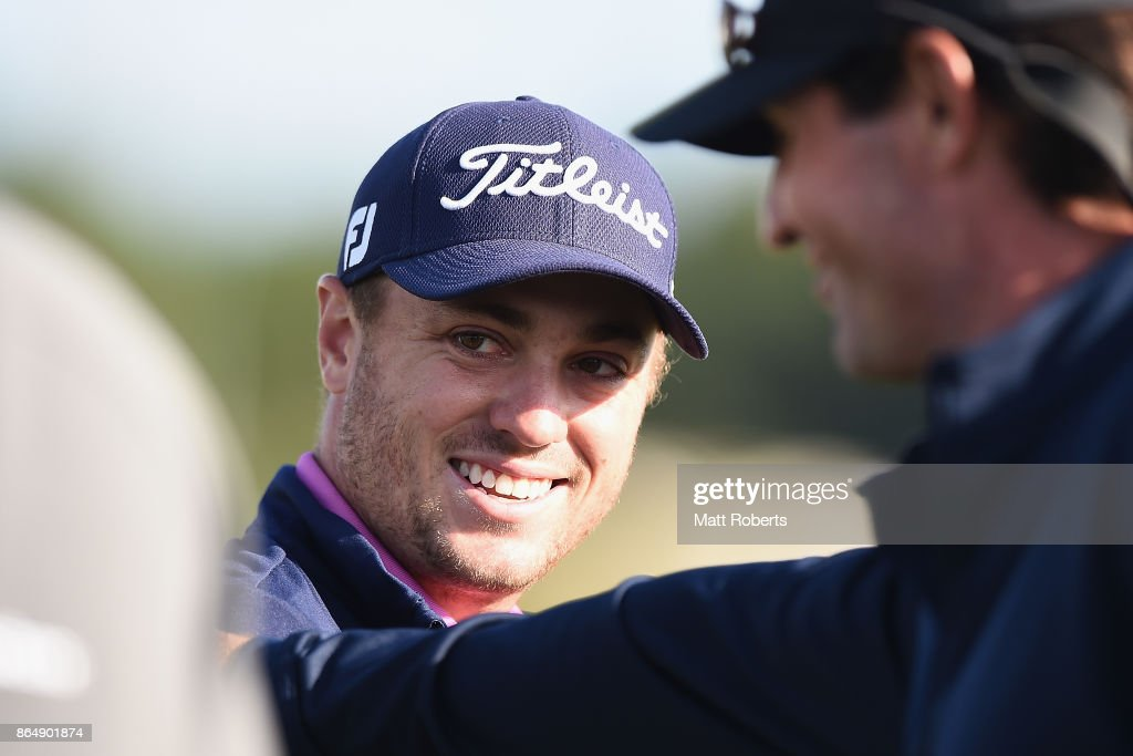 Justin Thomas of the United States smiles after winng the CJ Cup at Nine Bridges on October 22, 2017 in Jeju, South Korea.