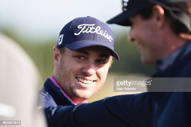 Justin Thomas of the United States smiles after winng the CJ Cup at Nine Bridges on October 22 2017 in Jeju South Korea