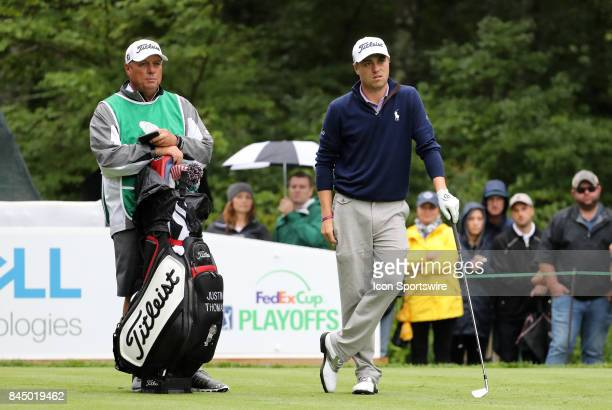Justin Thomas of the United States waits to hit on 8 during the third round of the Dell Technologies Championship on September 3 at TPC Boston in...