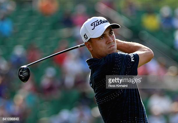 Justin Thomas of the United States watches his tee shot on the 12th hole during the third round of the US Open at Oakmont Country Club on June 18...