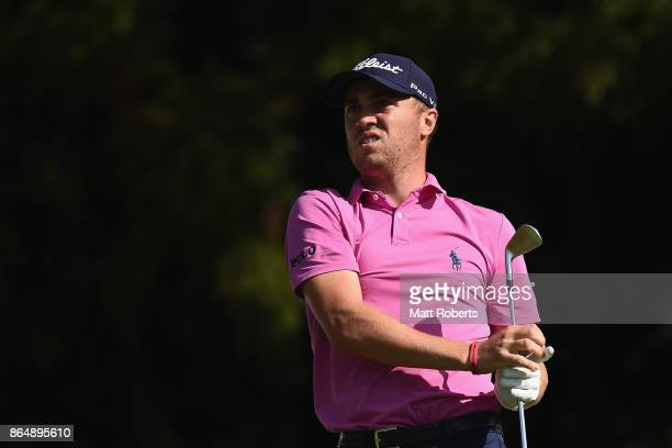 Justin Thomas of the United States watches his tee shot on the 17th hole during the final round of the CJ Cup at Nine Bridges on October 22 2017 in...