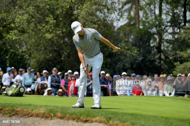 Justin Thomas of the Unites States reacts to his putt on third hole during the final round of the World Golf ChampionshipsMexico Championship at Club...